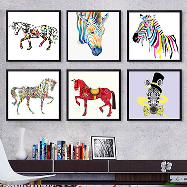 DIY oil Painting By Numbers Animals horse Colorful abstract pictures Drawing Coloring paint By Numbers for hoom decor with frame