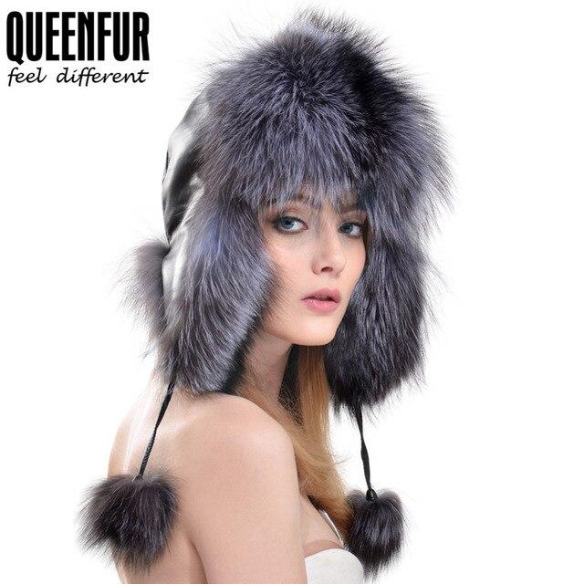 QUEENFUR 2016 Calientes Del Invierno Protector Auditivo Bombardero Sombreros Gorro de Piel de Zorro Sombrero de Bola de la Flor de Las Mujeres de Moda de Cuero Genuino Superior