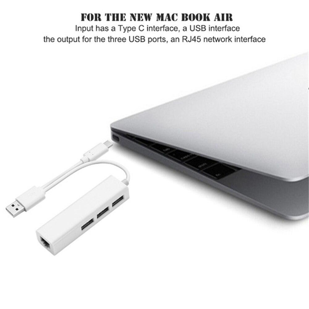 Network Card Type-C Charging Extender Dock 4 in 1 USB 3.1 USB 2.0 HUB Type C to Gigabit Ethernet LAN RJ45 Adapter Data Transfer