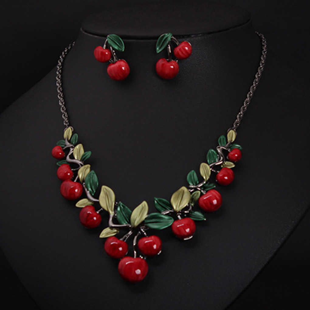 Fashion Red Cherry Necklace Earrings Jewelry Set Dinner Dress Wedding Bridal Accessories
