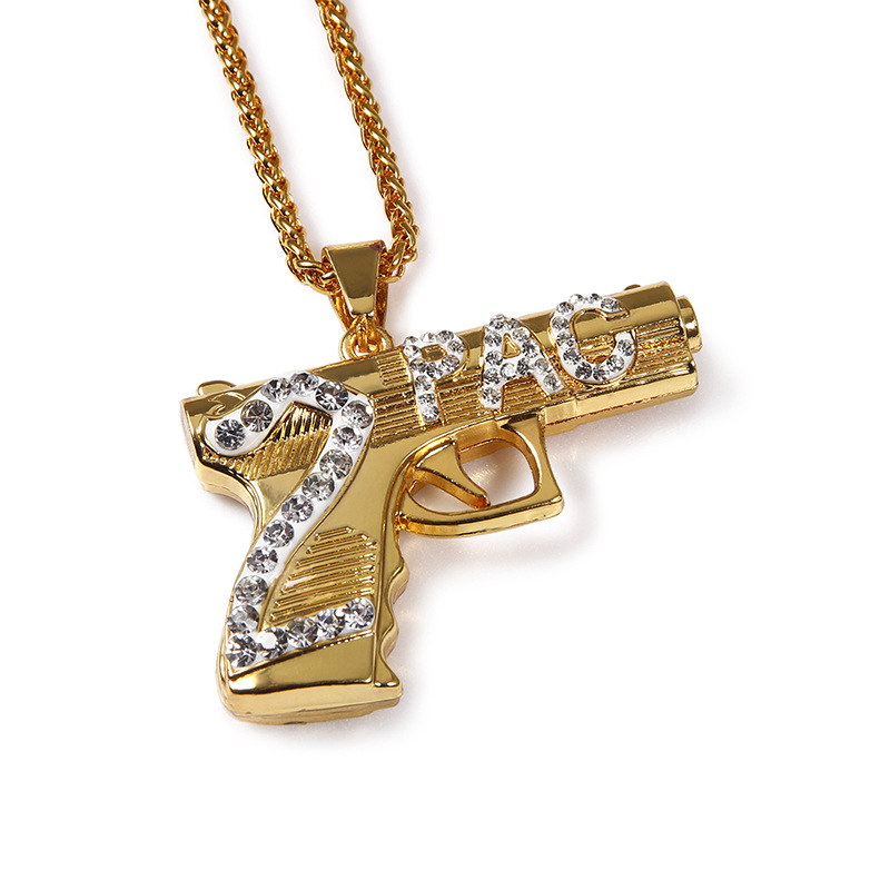 Yellow golden filled iced out 2pac rapper gun pendant for Bling jewelry coupon code