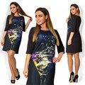Tamaño grande 6XL 2016 Vestido de Verano Mujer Elegante Flojo étnico vestidos tallas grandes ropa 6xl Grasa MM autorretrato vestido