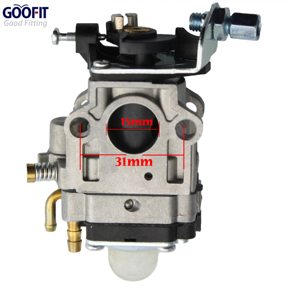GOOFIT 15mm Carburetor Carburettor primer bulb Carb 49cc 2 Stroke ATVs Pocket Pocket Bike 43cc 47cc 49cc 50cc Engines N090-048