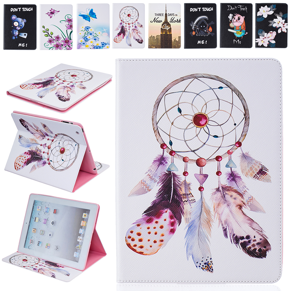 Fashion 2 Sides Painted Stand Wallet Flip Case For iPad 2 iPad 3 iPad 4 Case PU Leather Tablet Cover 9.7 Inch With Card Holder