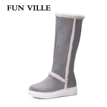 FUN VILLE New winter Fashion Women knee high Boots Warm Snow boots for woman Thick heel Platform Sexy Female shoes 34-43