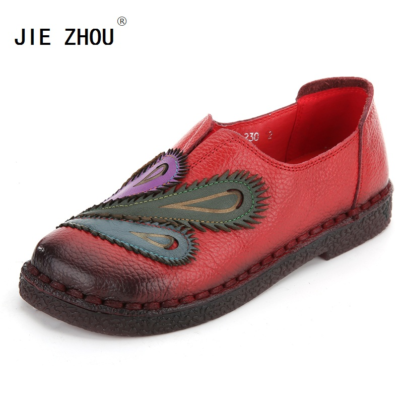 Fashion Ladies Shoes Women Genuine Leather Mixed Colors Flats Folk Style Handmade Shoes Soft Bottom Casual
