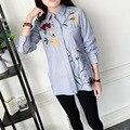 Bordados Boutique Camisa Listrada Blusa de Manga Longa Camisas de Trabalho Mulheres Escritório Tops Camisas de Alta Qualidade Para O Negócio