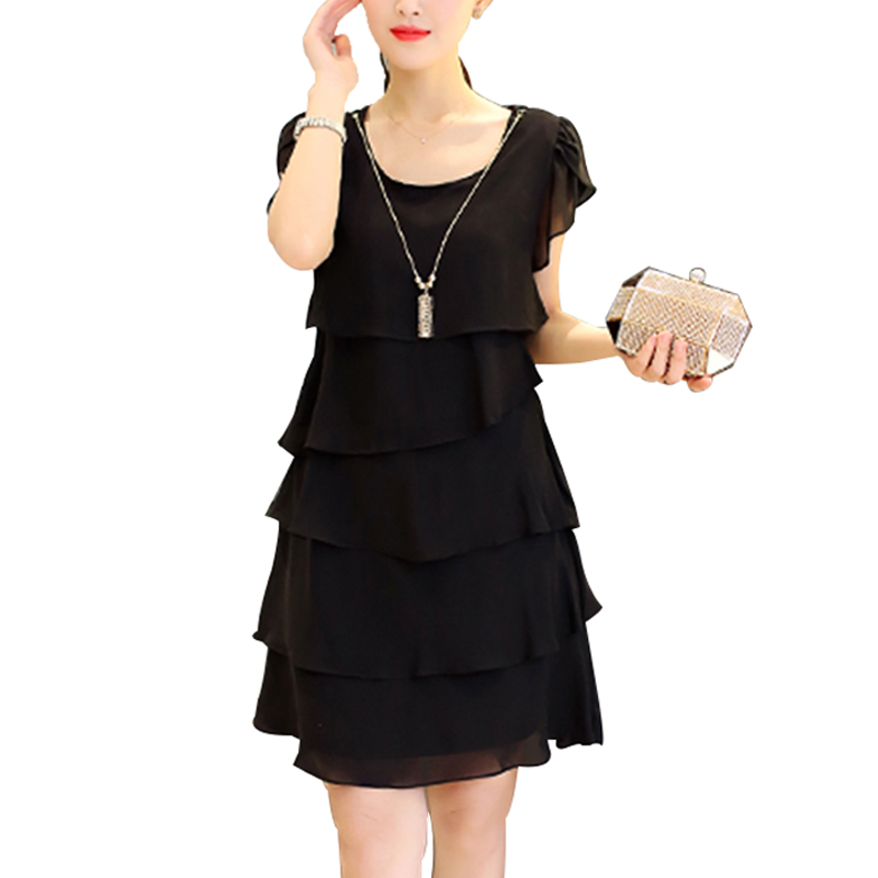 2019 Summer Women Chiffon Dress Plus Size Dresses 5XL Ladies Elegant Female Vestido Cocktail Casual Vintage Party Black Red Pink