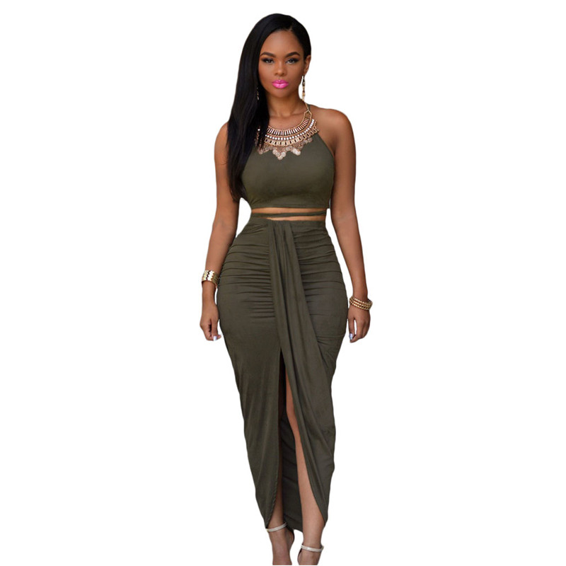 2018 Summer Women Olive Faux Suede Two Piece Set O-Neck Bustier Crop Top And Maxi Skirt Set <font><b>Ensemble</b></font> <font><b>Jupe</b></font> <font><b>Et</b></font> <font><b>Haut</b></font> <font><b>Sexy</b></font> image