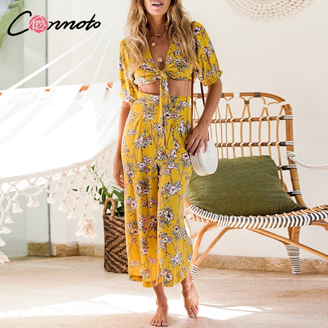 Conmoto Bow Bohemian Casual Women Jumpsuits Suits Wide Leg Rompers Floral Feminino Sexy Beach Jumpsuit Rompers