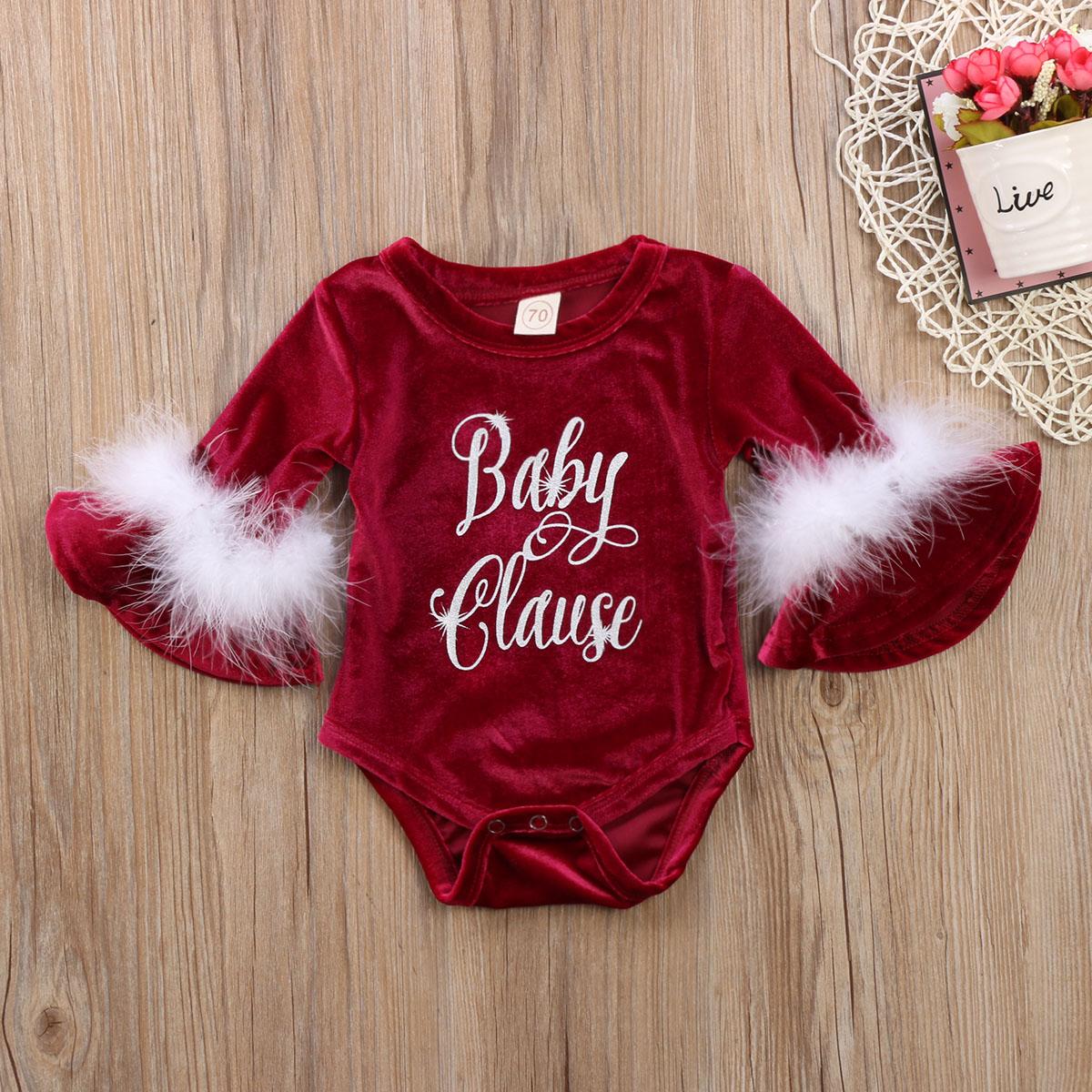 HTB10bDmc3vD8KJjSsplq6yIEFXaC Pudcoco 2017 New Pleuche Christmas Baby Girls Romper long sleeves infant newborn baby jumpsuit princess plush clothes xmas gift