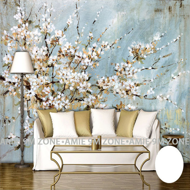 Living Room Decorative Accessories Paint Ideas 2016 Wallpapers Wall Art Cherry Blossom Hand Painting Mural Wallpaper Home Decor For Office Free Shipping