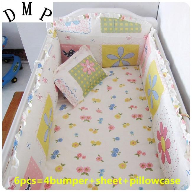 Promotion! 6PCS Baby bedding set Animal bear crib bedding set 100% cotton baby bedclothes (bumper+sheet+pillow cover) promotion 6pcs bear bedding set 100