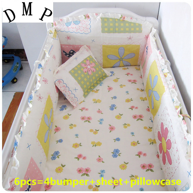 Promotion! 6PCS Baby bedding set Animal bear crib bedding set 100% cotton baby bedclothes (bumper+sheet+pillow cover)