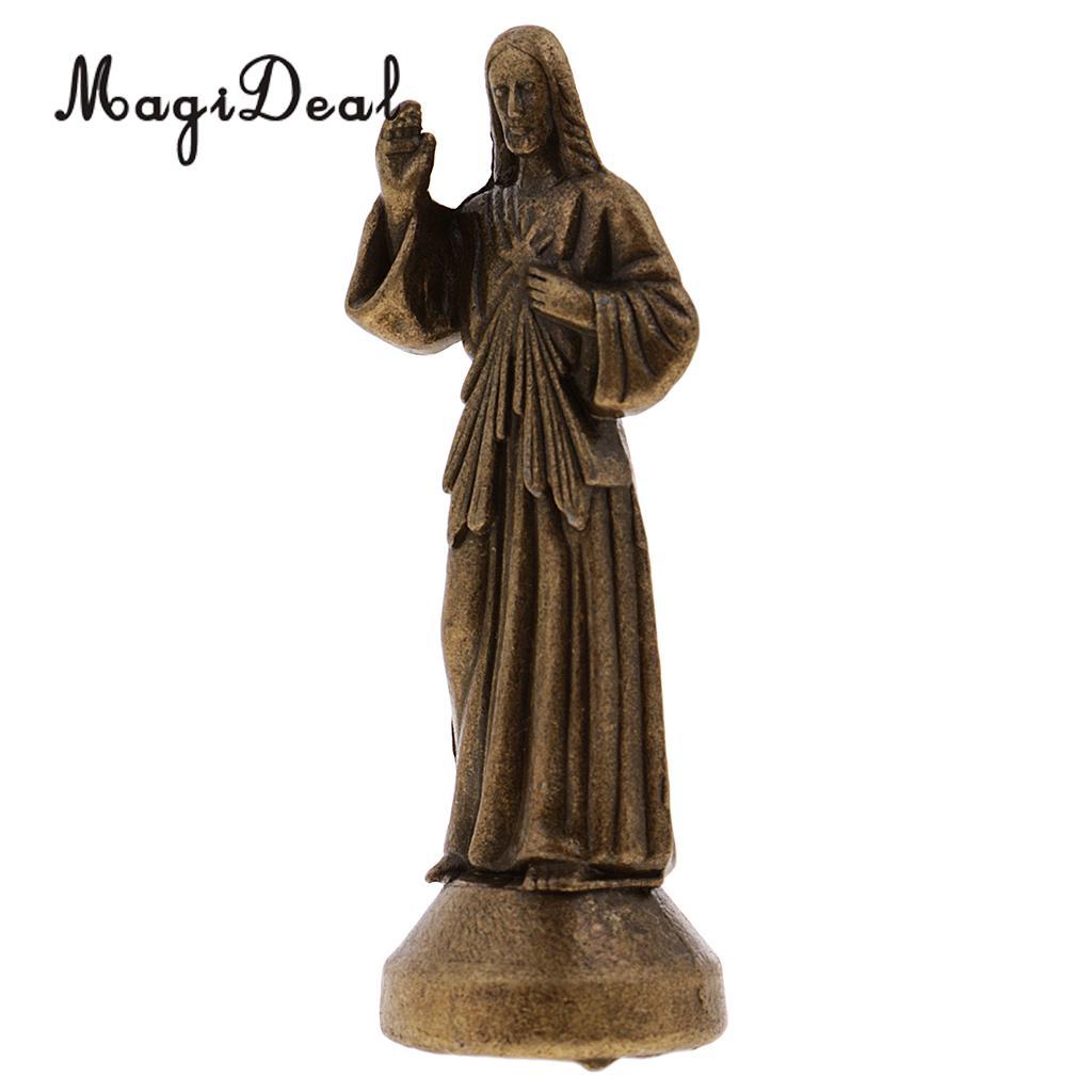 Estatuilla religiosa santa jesús mini decoración magnética bronce 5 cm