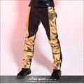 Новый стиль мужская одежда мужской черное золото кожаные штаны sexy мода прилив певец узкие брюки высокое качество этап показать
