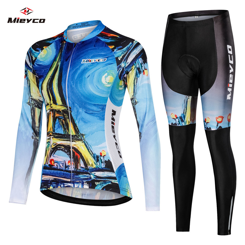 2019 Womens Spring Long Sleeve Cycling Jersey Set France Eiffel Tower Bicycle Wear Female Mountain Bike Clothes Ropa Ciclismo