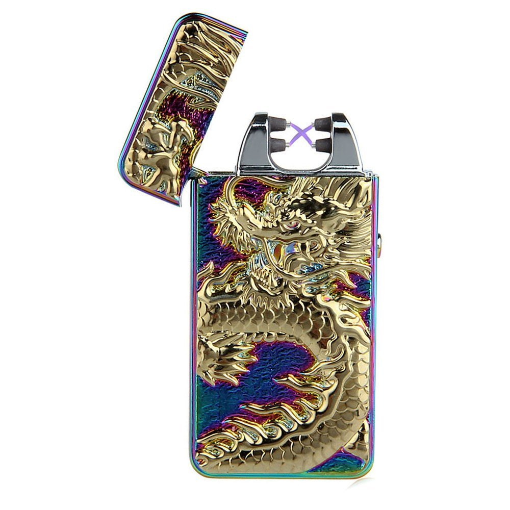 2017 New Dragon Embossed Double Arc Cigarette Lighter USB Charging Pulse Arc Metal Tobacco Cigarette Lighters