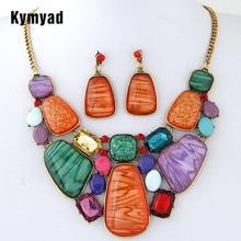 Kymyad многоцветные наборы ювелирных изделий из камня для женщин, набор ювелирных изделий из африканских бусин, винтажный Комплект сережек для женщин