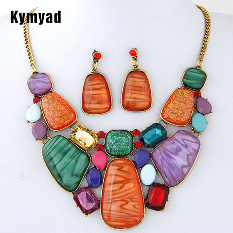 Kymyad Multicolor Stone Jewelry Sets For Women Fine African Beads Jewelry Set Vintage Statement Necklace Earrings Set For Women pair of vintage alloy emboss beads triangle earrings for women
