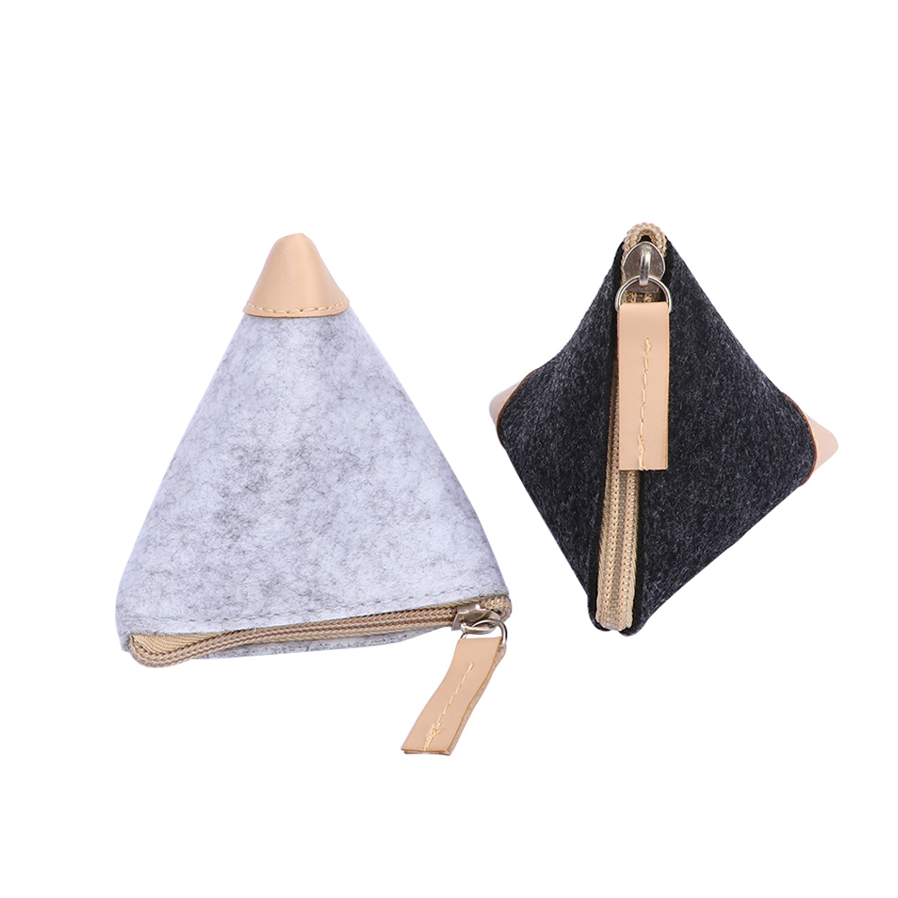 Купить с кэшбэком Cheap Fashion Classic Purse Wallet Women Men Card Key Purses Wool Triangle Coin Small Change Casual Pouch Bag Case