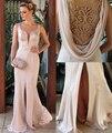 Rosa Vestidos de Noche Palabra de Longitud Raja Del Lado de La Sirena Que Rebordea Perlas Satén Sheer Volver Blush Vestidos de Baile Árabe
