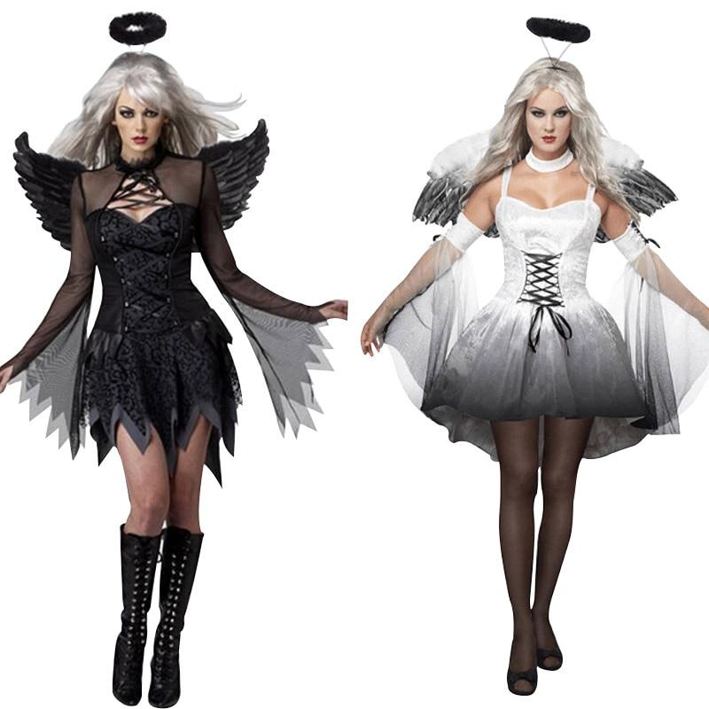 2017 Halloween Costumes For Women Fantasy Cosplay Party Fancy Dress Adult White Black Fallen Angel Costume With Angel Wings fallen fallen cobra hood fleece black white skulls