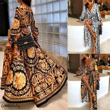 UK Women Long Sleeve Leopard Split Sundress Lady Summer Holiday Maxi Dress