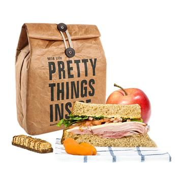 Brown Paper Lunch Bag Reusable Box Sack Durable Insulated Thermal Paper Bag Snack Cooler Picnic Container image