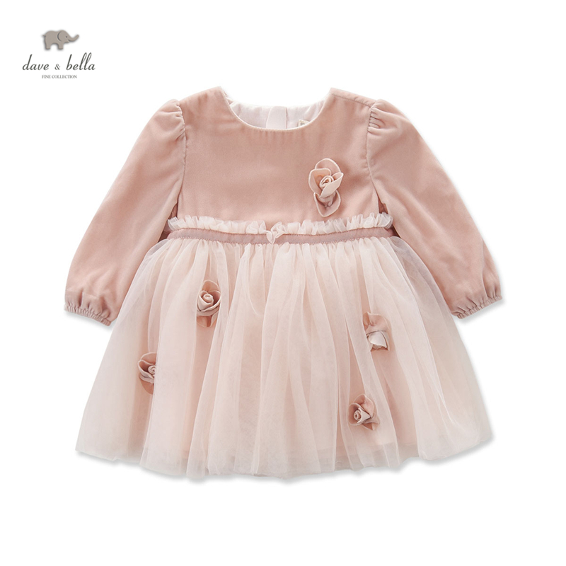 DB4102 dave bella autumn baby girl fairy princess dress baby wedding birthday lace dress girls costumes