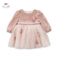 DB4102 Dave Bella Autumn Baby Girl Fairy Princess Dress Baby Wedding Birthday Lace Dress Girls Costumes
