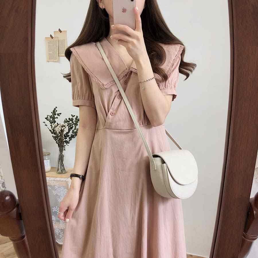 Новое летнее платье больших размеров, вечерние платья для девочек в стиле бохо, однотонное Розовое женское винтажное платье на пуговицах, женские платья с коротким рукавом, Robe Vestido
