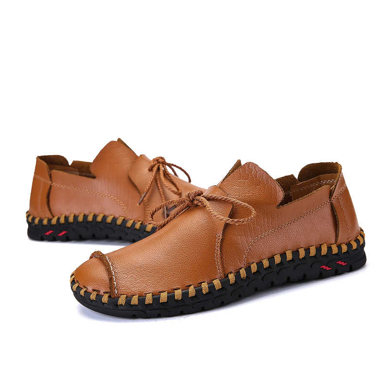 Men Casual Shoes Design Brand Leather Men's Driving Shoes Handmade Quality Men Loafer Shoes Flats Big Size 38-50 Moccasins