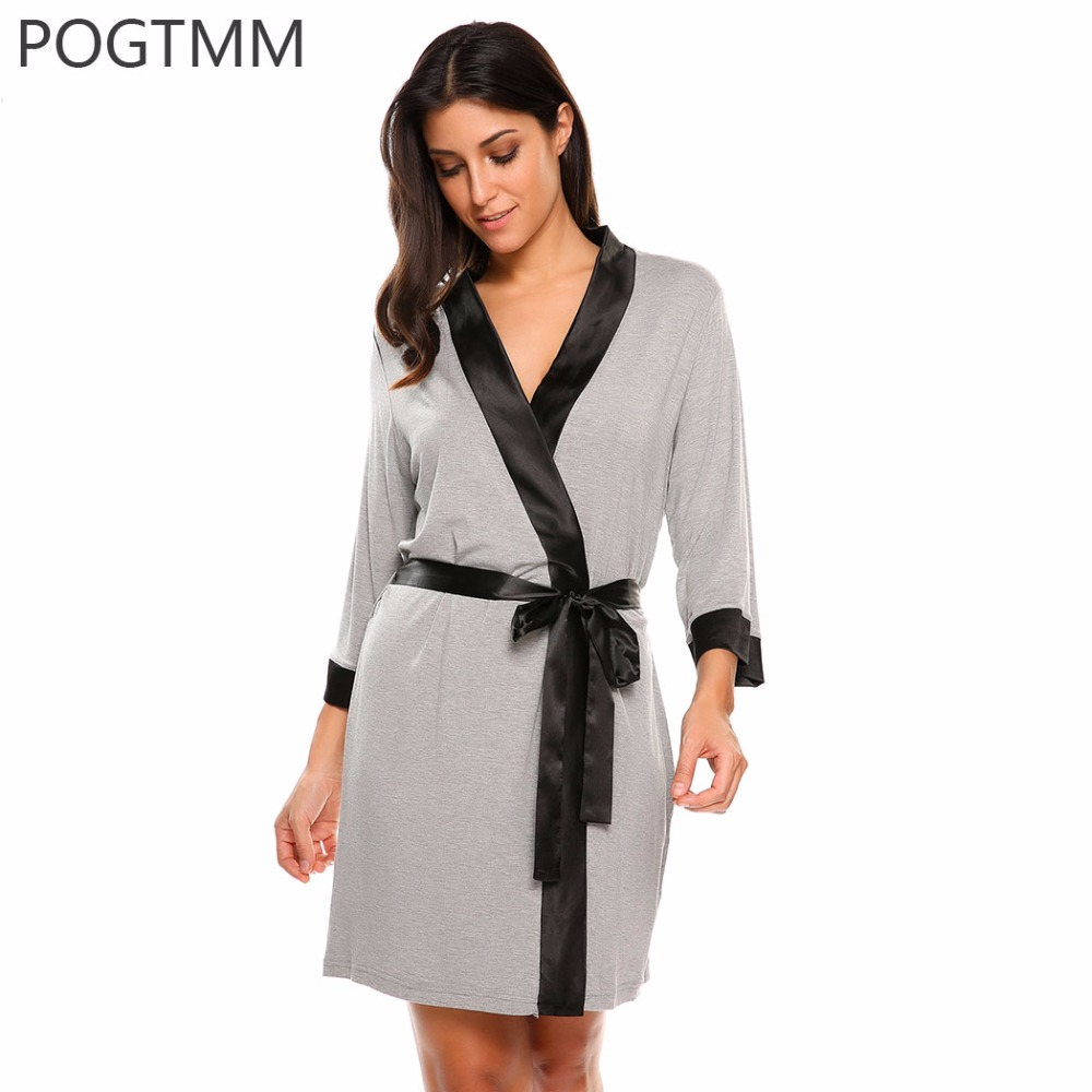 summer sexy dressing gown women 3 4 sleeve short kimono bathrobe spa robe sleepwear homewear. Black Bedroom Furniture Sets. Home Design Ideas