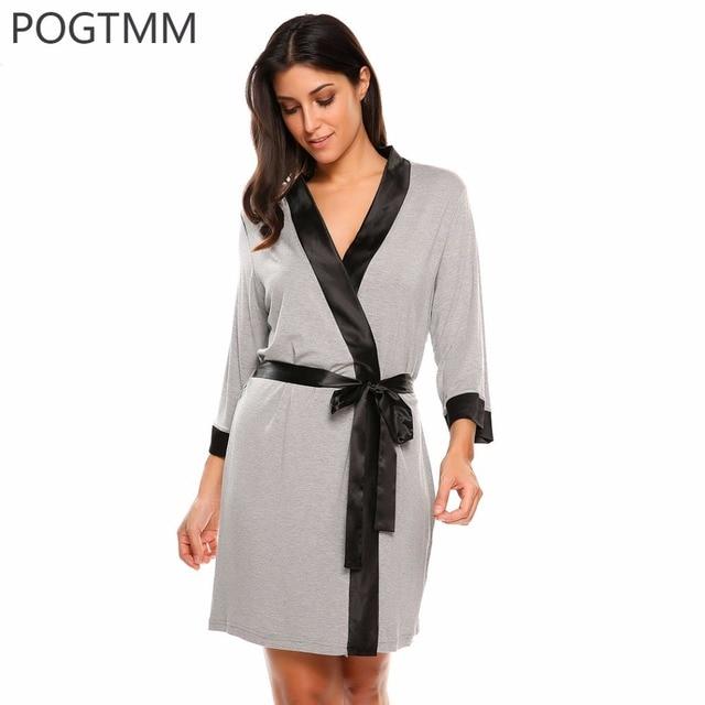 eaaf7ce480 Summer Sexy Dressing Gown Women 3 4 Sleeve Short Kimono Bathrobe Spa Robe  Sleepwear Homewear Night Sleep Wear Peignoir Femme XXL