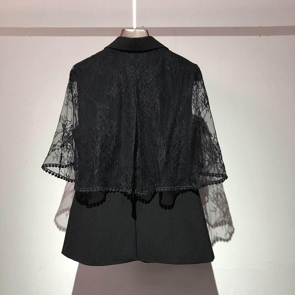 Automne Manteau V Et Veste Originale Dentelle Couture cou Patchwork Gloria Office Lady Grâce Conception Haute 2018 Hiver Élégant qwdSBCZqx