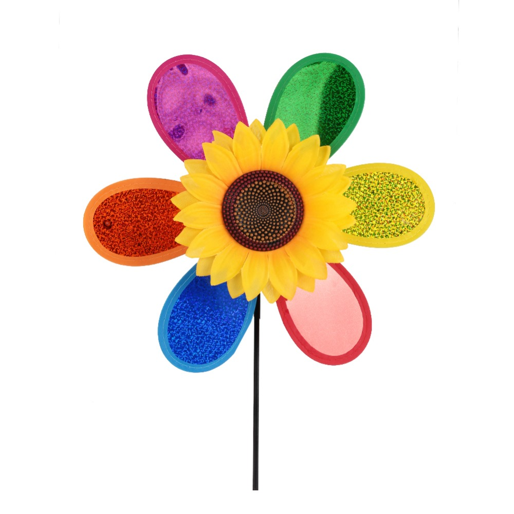 Colorful Sequins Sunflower Windmill 3D Plastic Random Home Garden Yard Decoration Wind Whirligig Outdoor Drop Shipping