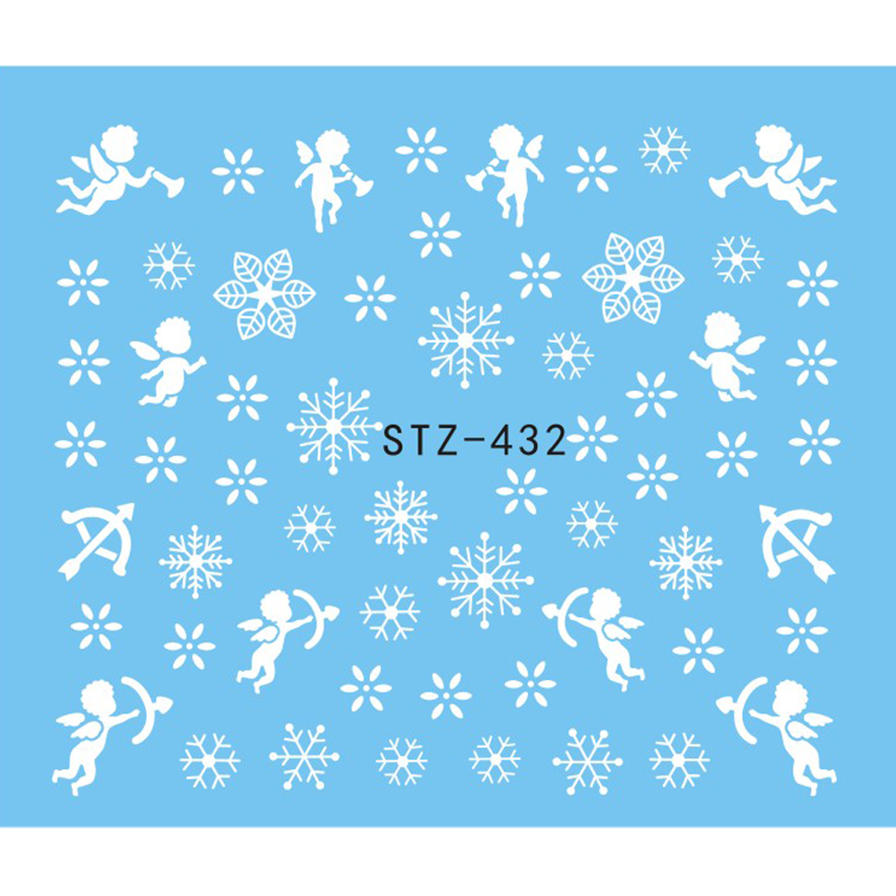 1 Sheet Water Nail Sticker Christmas Design Temporary Tattoos Elk/Snow Flowers/Owl Pattern Transfer Beauty Nail Art TRSTZ429-439 3