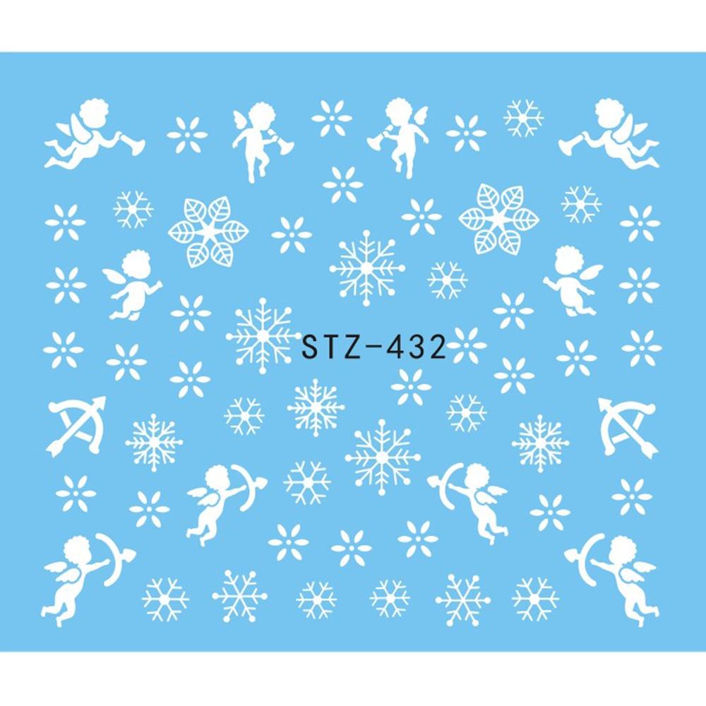 1 Sheet Water Nail Sticker Christmas Design Temporary Tattoos Elk/Snow Flowers/Owl Pattern Transfer Beauty Nail Art TRSTZ429-439 3