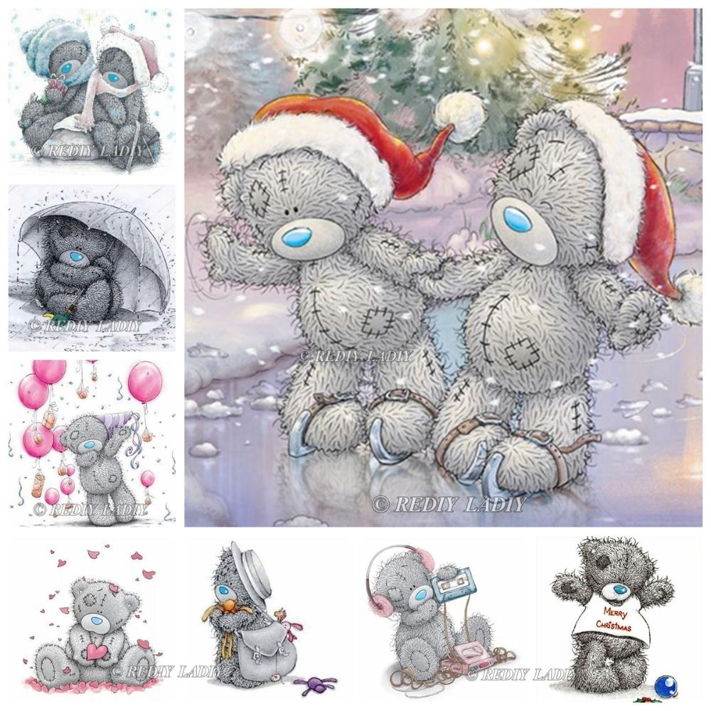 REDIY LADIY DIY 5D diamante pintura Navidad Oso de dibujos animados ...