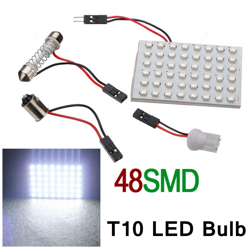 White T10 48 Smd Led Light Panel Car Auto Interior Reading Lamp Light Bulb BA9S 3 Adapter DC 12v  Interior Dome Map Light Bulb