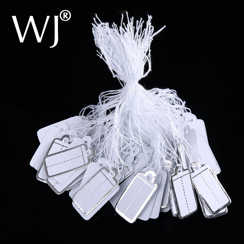 Wholesale Shop Supplies 200pcs/lot Silver Paper Tag Labeler Jewelry Price Tags With String /Jewelry Label For Accessories Store