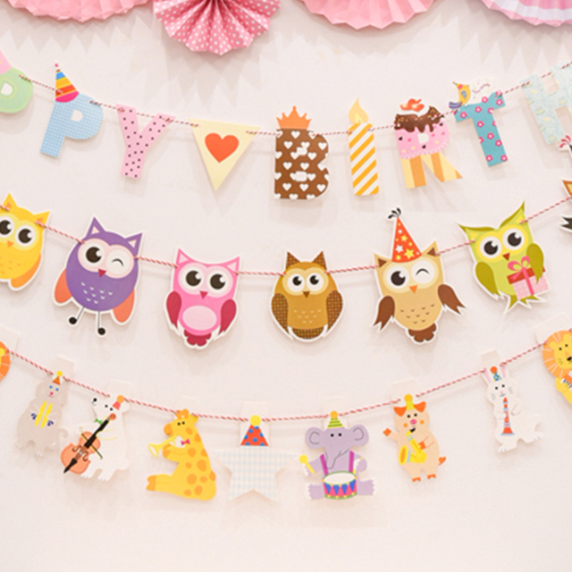 1pcs animal owl banner happy birthday letter paper garland bunting flags birthday party baby shower childrens