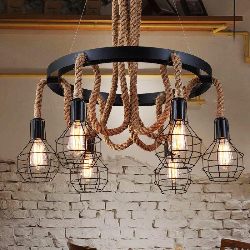 Loft Vintage Retro Lamps Cage Hemp Rope Lights Bar Pub Club Cafe Restaurant Living Room Balcony Stair Aisle Pendant Lamp