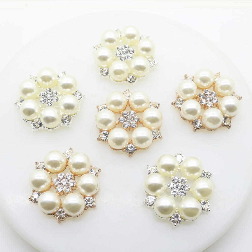 5pcs Flower Pearls Flatback Button Embellishment Wedding DIY Decor 25mm