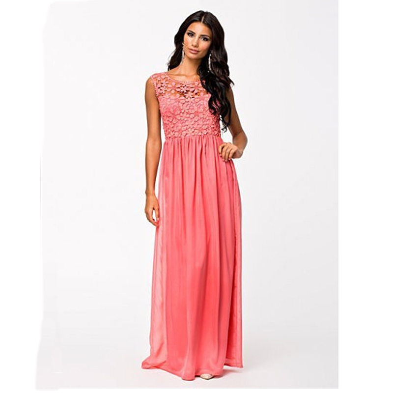 Hot sale high quality factory price Women Summer Sleeveless White Top Crochet Sexy Lace Chiffon Maxi Dress Vestidos in Dresses from Women 39 s Clothing