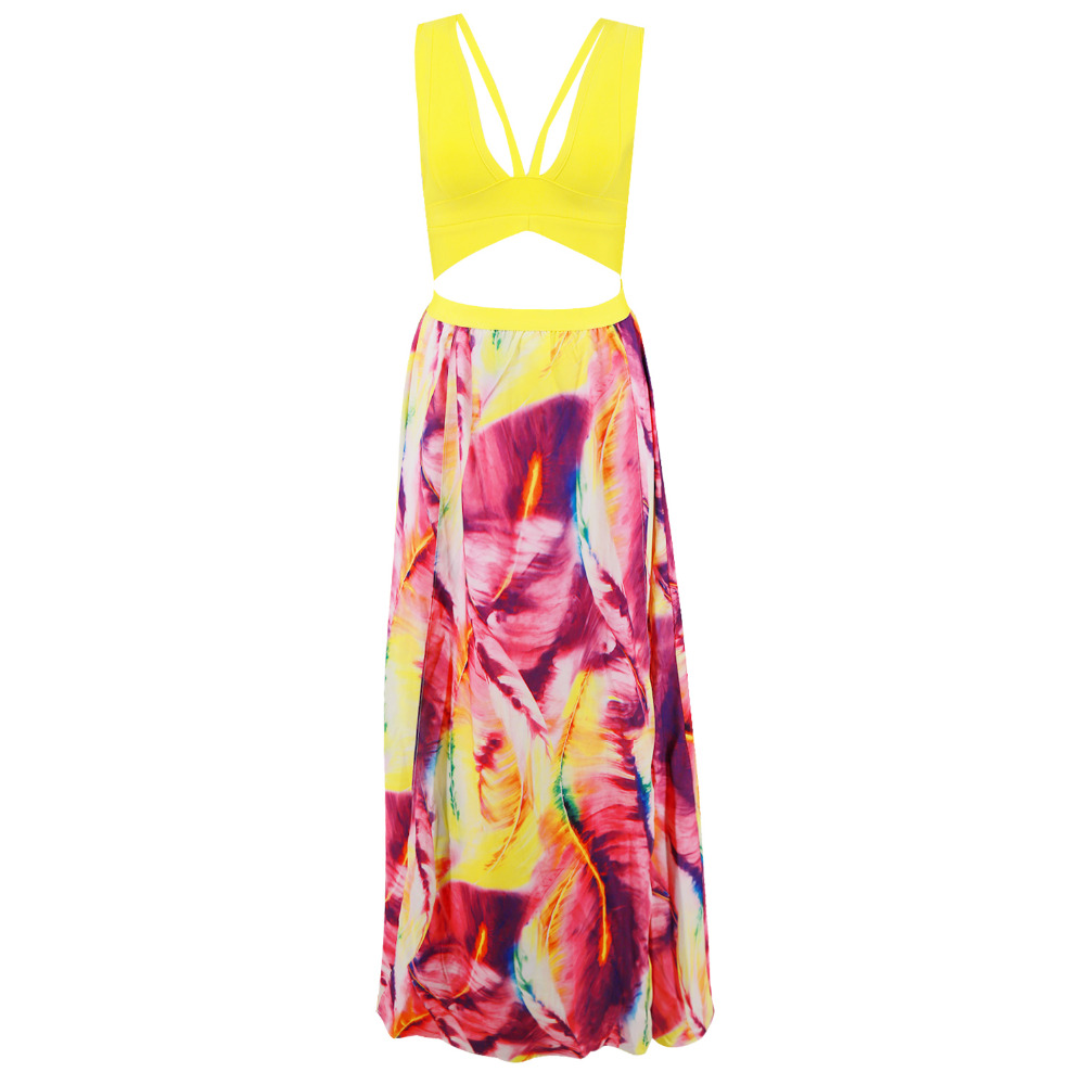 2018 new yellow off the shoulder v neck women bandage dress summer print sexy v neck party clucb long dresses in wholesale