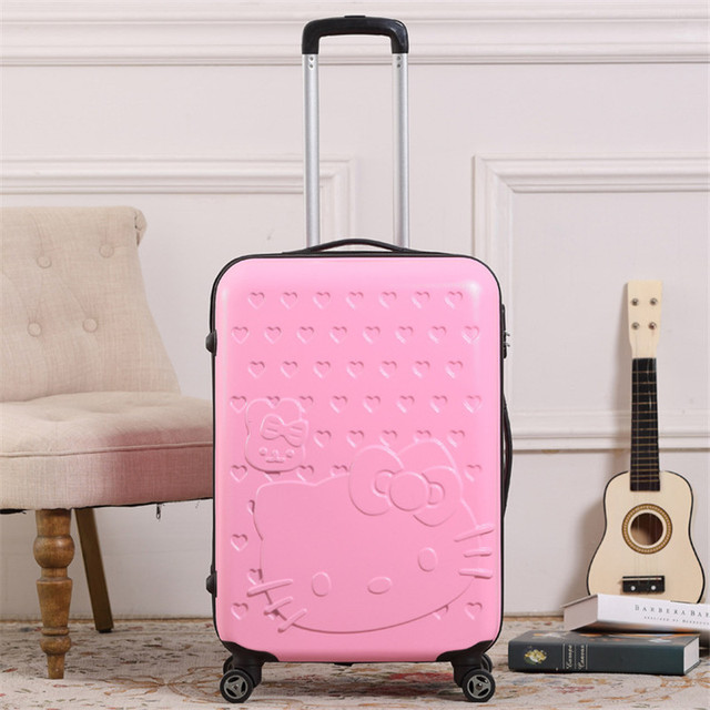 ba8f4997d438 Middle Girl Anime Hello Kitty Rolling Luggage Children Cartoon ABS Hardside  Travel Trolley Suitcase Kids School Bag On Wheels
