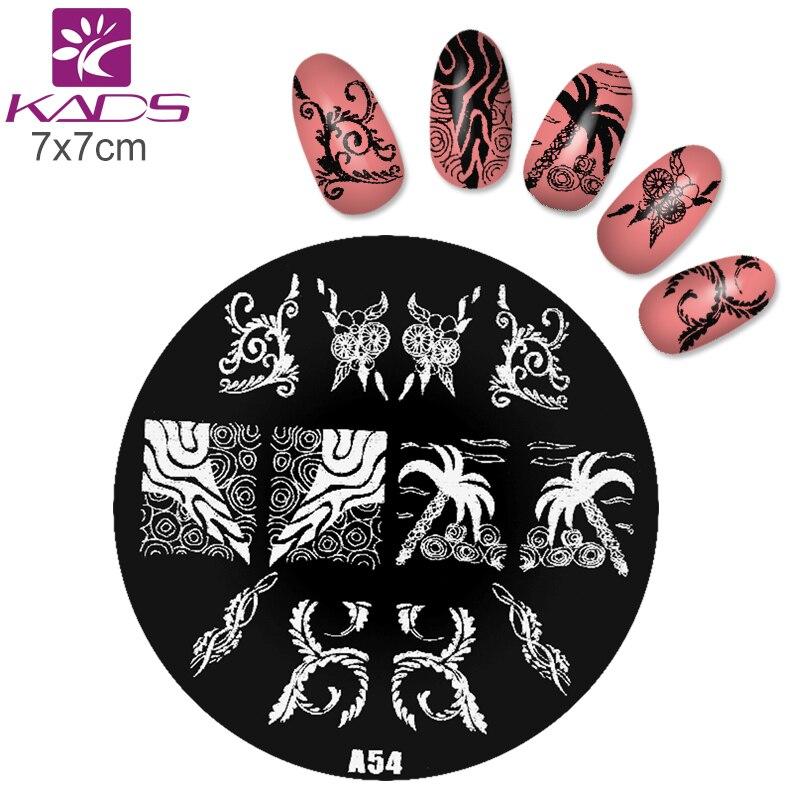 KADS A54 Coconut tree & Fish Nail Stamp Plate Nail Polish Nail Art ...
