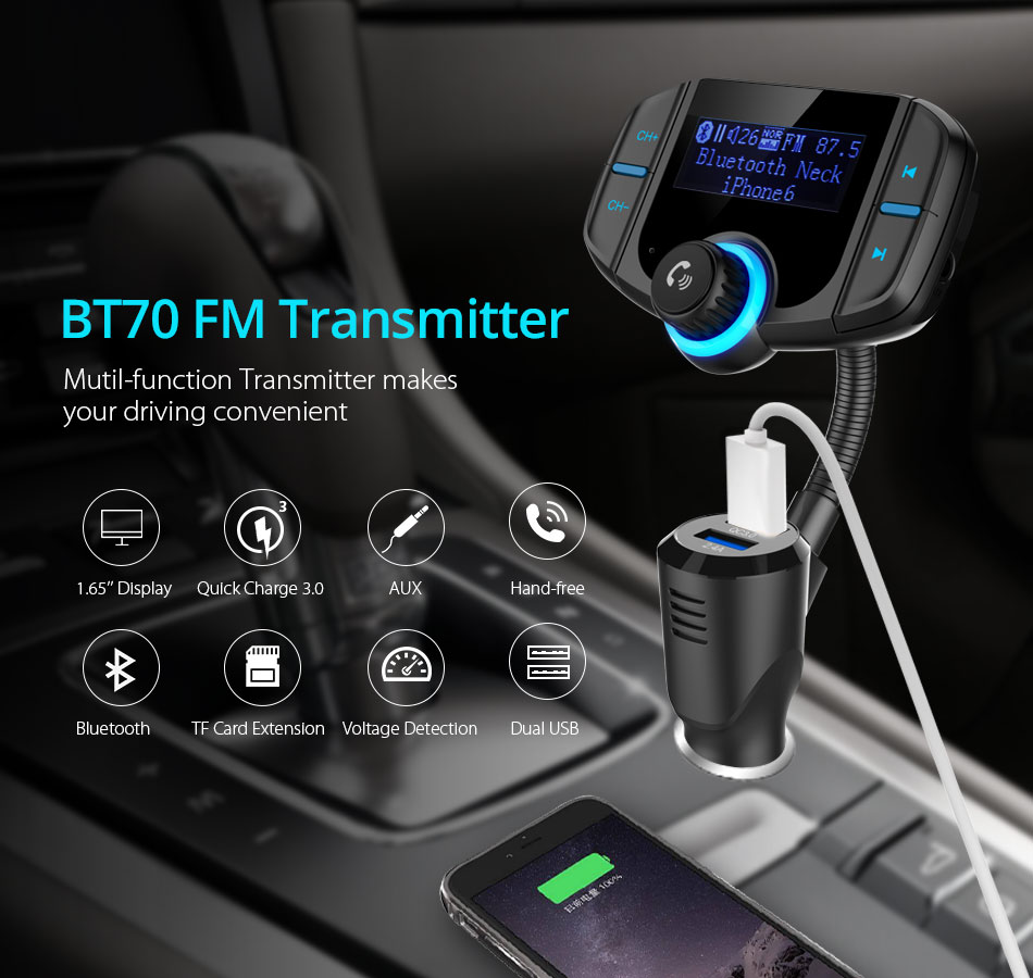 Vanjew Bt70 Car Bluetooth Fm Transmitter Modulator Transmiter 2 Usb Bt20 Dual Charger Mp3 Wma Audio Hands Free Call 5v 34a Support Tf Card Music Pl 1